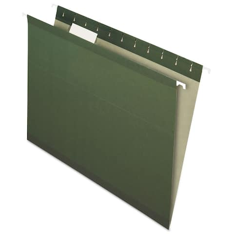 Pendaflex Earthwise Recycled Hanging File Folders 1/5 Tab Letter Green 25/Box