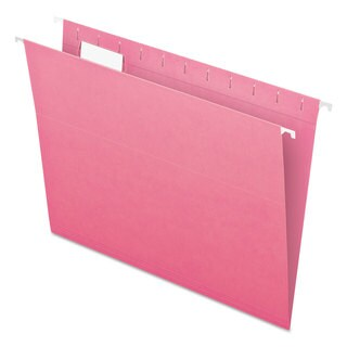 Pendaflex Essentials Colored Hanging Folders 1/5 Tab Letter Pink 25/Box