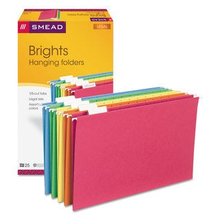 Smead Hanging File Folders 1/5 Tab 11 Point Stock Legal Assorted Colors 25/Box