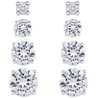 Dolce Giavonna Sterling Silver Cubic Zirconia Graduated Circle Stud Earrings Set