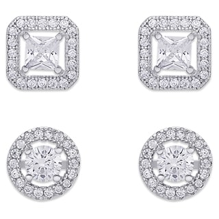 Samantha Stone Cubic Zirconia Square and Circle Halo Design Stud Earrings Set