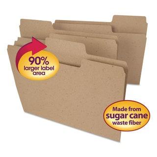 Smead Tree Free SuperTab File Folders 1/3 Cut Letter Natural Brown 100/Box