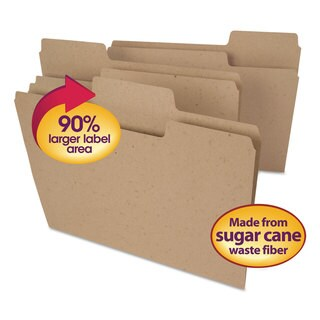 Smead Tree Free SuperTab File Folders 1/3 Cut Letter Natural Brown 100/Box