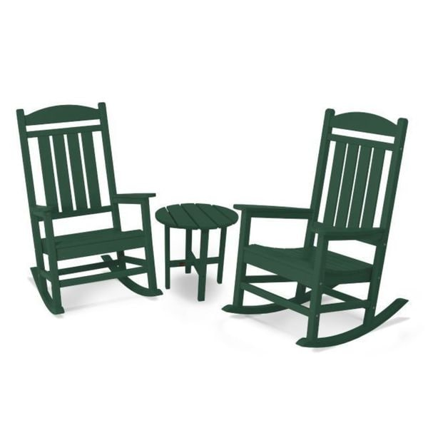 Shop Polywood Presidential 3 Piece Outdoor Rocking Chair Set With
