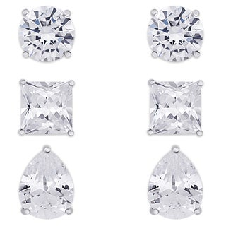 Dolce Giavonna Sterling Silver Cubic Zirconia Stud Earrings Set