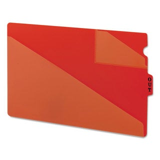 Smead Out Guides with Diagonal-Cut Pockets Poly Legal Red 50/Box