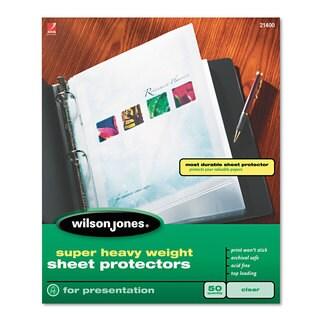 Wilson Jones Top-Loading Super Heavy Sheet Protectors Nonglare Finish Letter 50/Box