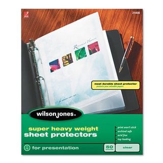 Wilson Jones Top-Loading Super Heavy Sheet Protectors Letter 50/Box