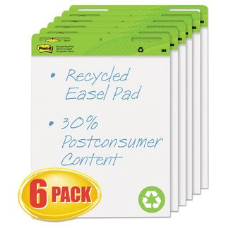 Post-it Easel Pads Self-Stick Easel Pads 25 x 30 White Recycled 6 30-Sheet Pads/Carton