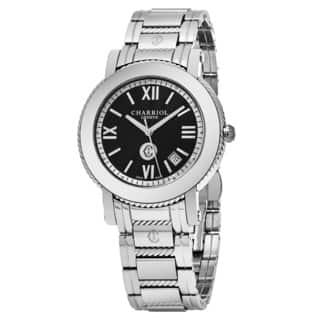 Charriol Men's P42S.P42.002 'Parisi' Black Dial Stainless Steel Swiss Quartz Watch|https://ak1.ostkcdn.com/images/products/14002017/P20624823.jpg?impolicy=medium