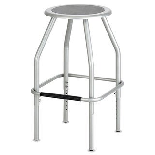 Safco Diesel Series Industrial Stool Stationary Padded Seat Steel Frame Silver
