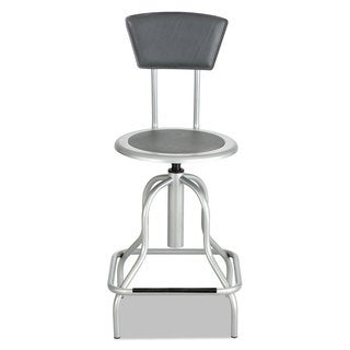 Safco Diesel Series Industrial Stool with Back High Base Silver Leather Seat/Back Pad