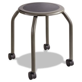 Safco Diesel Series Industrial Stool Stationary Padded Seat Casters Steel/Pewter