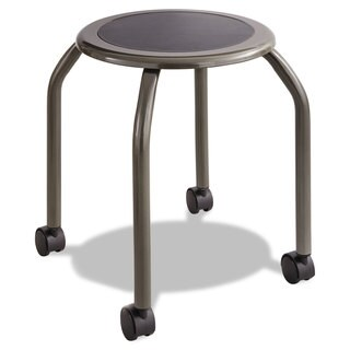 Safco Diesel Series Industrial Stool Stationary Padded Seat Casters Steel/Pewter - N/A
