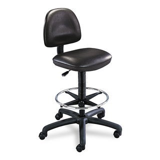 Safco Precision Extended Height Swivel Stool with Adjustable Footring Black Vinyl