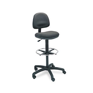 Safco Precision Extended Height Swivel Stool with Adjustable Footring Black Fabric