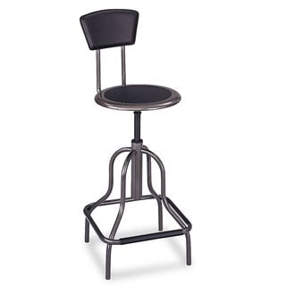 Safco Diesel Series Industrial Stool with Back High Base Pewter Leather Seat/Back Pad