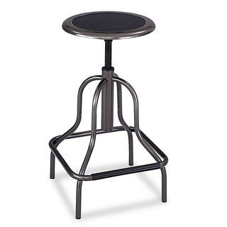 Safco Diesel Series Backless Industrial Stool High Base Pewter Leather Seat