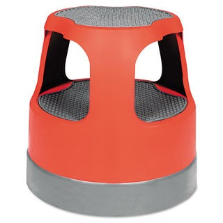 Cramer Scooter Stool Round 15-inch Step & Lock Wheels to 300-pound Red