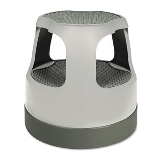 Cramer Scooter Stool Round 15-in Step & Lock Wheels to 300lb Grey