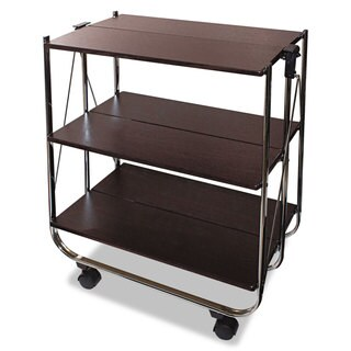 Vertiflex Click-N-Fold Utility Cart 26 3/4-inch wide x 15 3/4-inch deep x 31 1/2-inch high Chrome/Brown