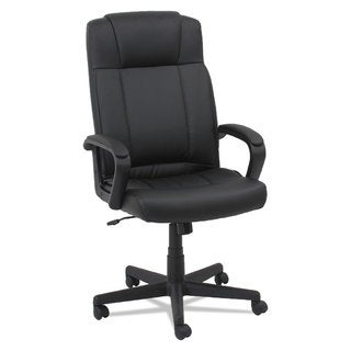 OIF Leather High-Back Chair Fixed Loop Arms Black