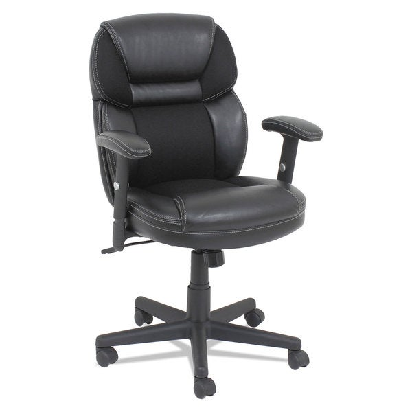 OIF Mesh/Faux Leather Mid-Back Chair Height-Adjustable T-Bar Arms Black