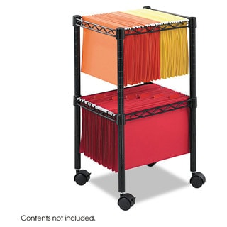 Safco Two-Tier Compact Mobile Wire File Cart Steel 15-1/2-inch wide x 14-inch deep x 27-1/2-inch high Black