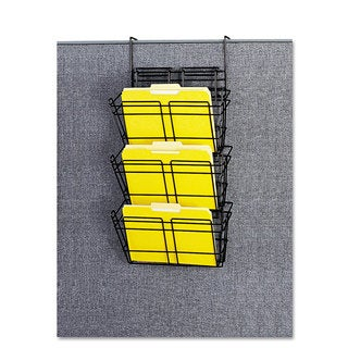 Safco Panelmate Triple-File Basket Organizer 15 1/2 x 29 1/2 Charcoal Grey
