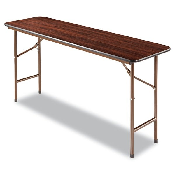 Alera Wood Folding Table Rectangular 60-inch wide x 18-inch deep x 29-inch high Walnut