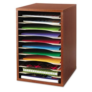 Safco Wood Desktop Literature Sorter 11 Sections 10 5/8 x 11 7/8 x 16 Cherry