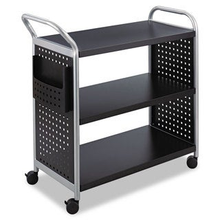 Safco Scoot Three-Shelf Utility Cart 31-inch wide x 18-inch deep x 38-inch high Black/Silver