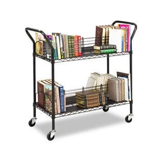 Safco Wire Book Cart Steel Four-Shelf 44-inch wide x 18-3/4-inch deep x 40-1/4h Black