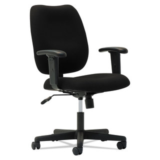 OIF Upholstered Mid-Back Task Chair Height Adjustable T-Bar Arms Black