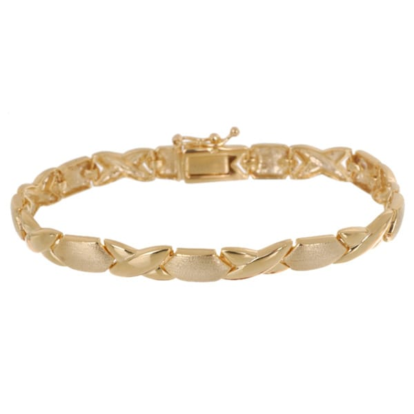 Mondevio 18k High Polish Vermeil Yellow Gold Over Silver X And O Link