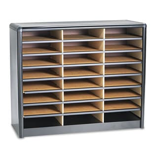 Safco Steel/Fiberboard Literature Sorter 24 Sections 32 1/4 x 13 1/2 x 25 3/4 Black