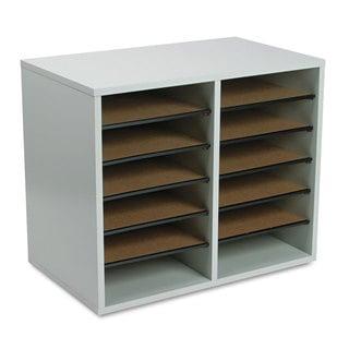 Safco Fiberboard Literature Sorter 12 Sections 19 5/8 x 11 7/8 x 16 1/8 Grey