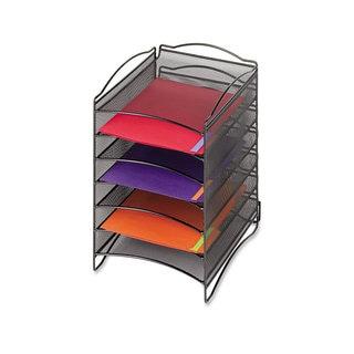Safco Onyx Steel Mesh Lliterature Sorter Six Compartments Black