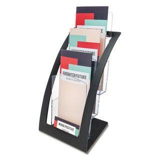 deflecto Three-Tier Leaflet Holder 6 3/4-inch wide x 6 15/16-inch deep x 13 5/16-inch high Black