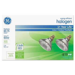 GE Energy-Efficient Halogen 60 Watt PAR38 Floodlight 2/Pack