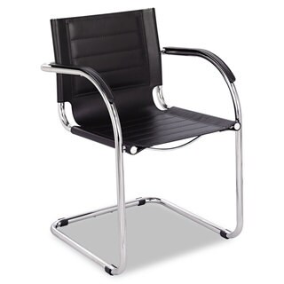 Safco Flaunt Series Guest Chair Black Leather/Chrome