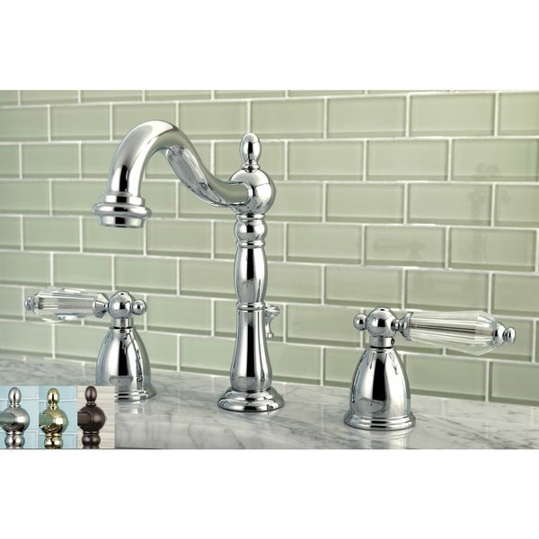 Victorian Widespread Bathroom Faucet With Small Porcelain Cross Handles: Shop Victorian Crystal Widespread Bathroom Faucet