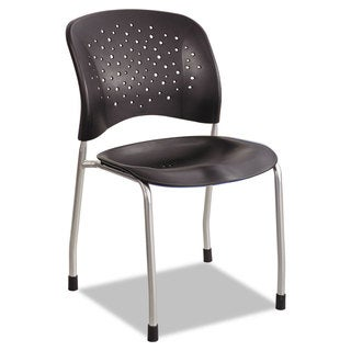 Safco Reve Series Guest Chair with Straight Legs Black Plastic Silver Steel 2/Carton