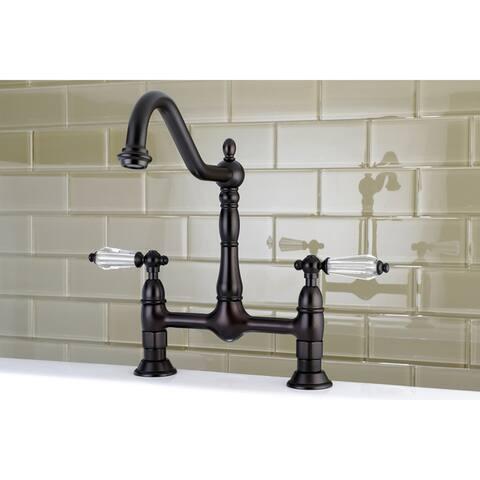 Victorian High Spout Bridge Crystal-Handles Kitchen Faucet
