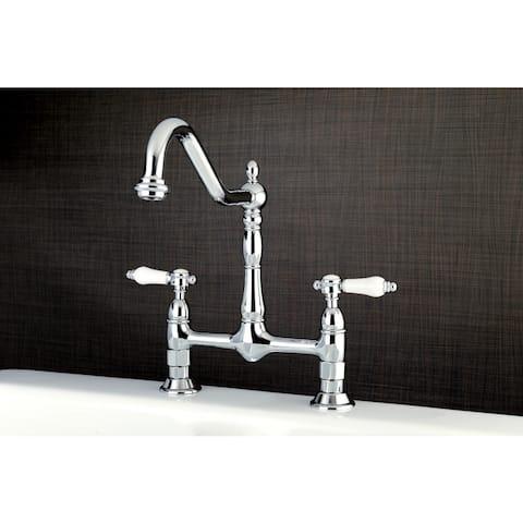 Victorian High Spout Bridge Porcelain-Handles Kitchen Faucet