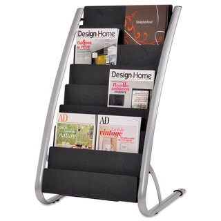 Alba Literature Floor Rack 16 Pocket 13 1/3 x 19 2/3 x 36 2/3 Silver Grey/Black