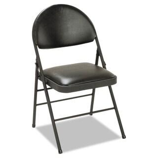 Cosco XL Folding Chairs Vinyl Seat and Back Black 4/Carton