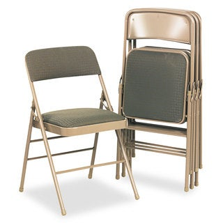 Cosco Deluxe Fabric Padded Seat & Back Folding Chairs Cavallaro Taupe 4/Carton