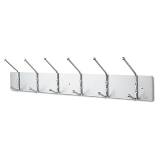Safco Metal Wall Rack Six Ball-Tipped Double-Hooks 36-inch wide x 3-3/4-inch deep x 7-inch high Chrome