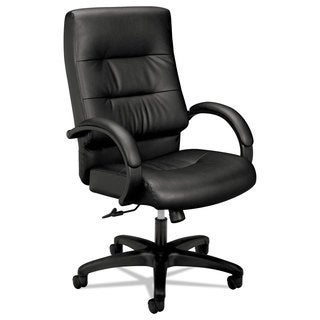 basyx VL690 Series Executive High-Back Leather Chair Black Leather